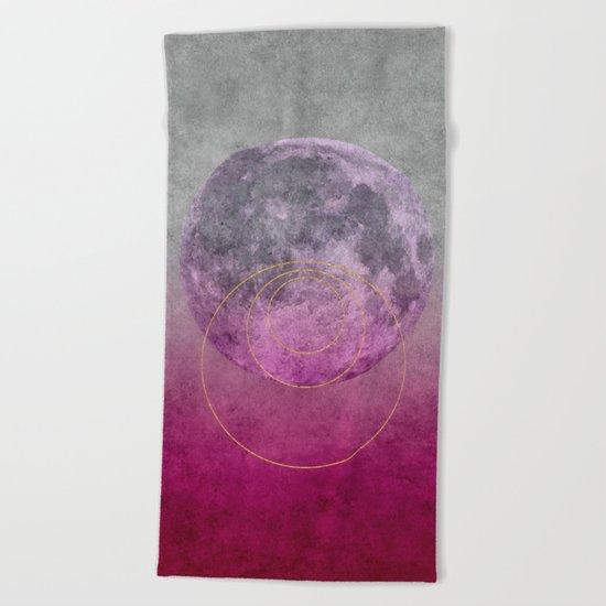 Pink Moon geometric circle mixed media Beach Towel