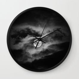 Full moon in black and white Wall Clock