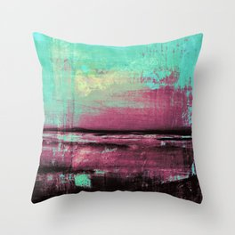 Green Color Patches Throw Pillow