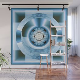 Art Deco Hub Cap in Blue Wall Mural