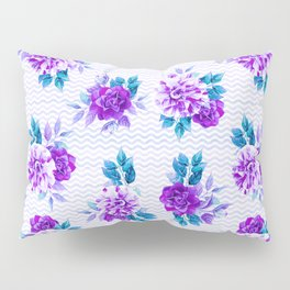 Pastel lilac violet hand painted watercolor floral geometric pattern Pillow Sham