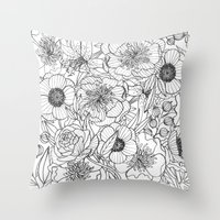 oana befort Throw Pillows featuring FLORALS by Oana Befort