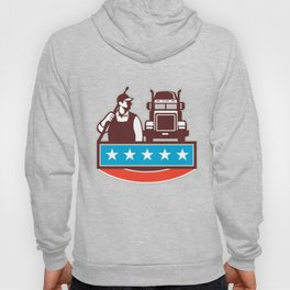 Pressure Washer Worker Truck USA Flag Retro Hoody