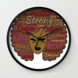Afro Word Art Black History Month Natural Hair  Wall Clock