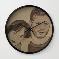 allyson johnson Wall Clocks featuring DAKOTA JOHNSON - JAMIE DORNAN by Virginieferreux