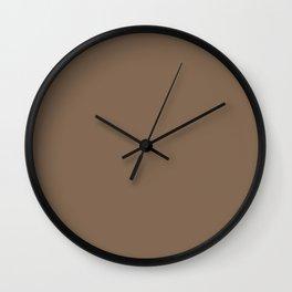 Dark Chalky Pastel Brown Solid Color Wall Clock