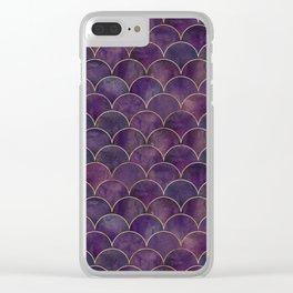 Dark Purple Beautiful Art Deco Marble Shimmer Mermaid Scales Gold Trim Seamless Pattern Clear iPhone Case