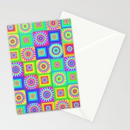 Multicoloured Patchwork Flowers Hippy Style Stationery Cards