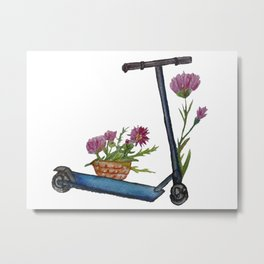 Push Scooter & Flowers Metal Print
