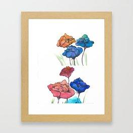 Watercolor Pencil Flowers & Ink Framed Art Print