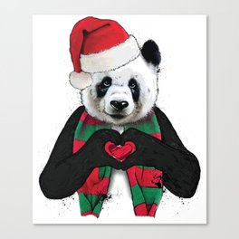 Cute Christmas Panda Holiday Love Shirt Canvas Print