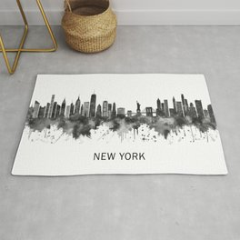 New York City New York Skyline BW Rug