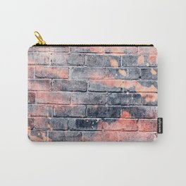 black and orange distressed painted brick wall ambient decor rustic brick effect + halloween Carry-All Pouch