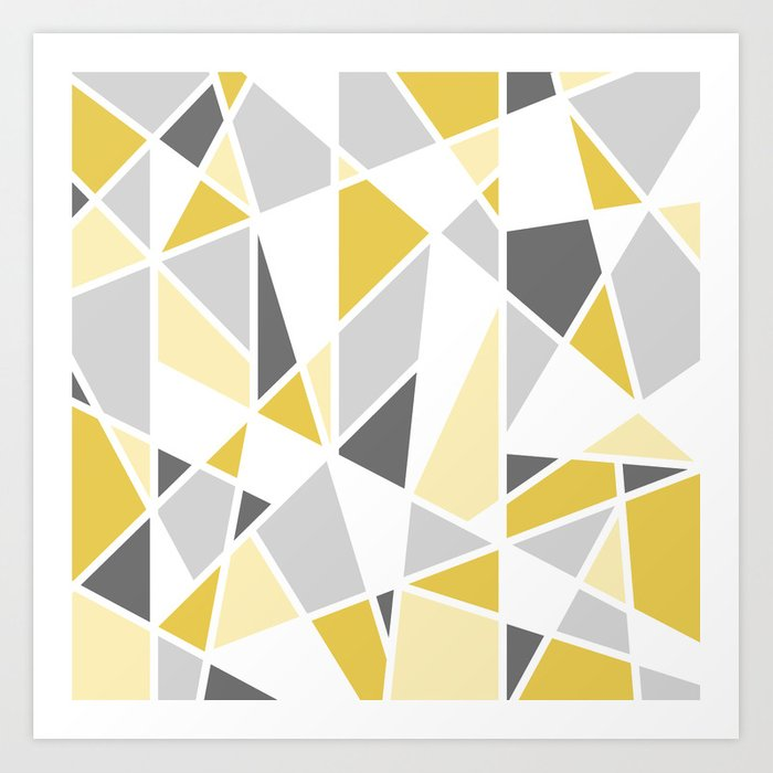 bb7ca19fa44 Geometric Pattern in yellow and gray Art Print by fischerfinearts ...