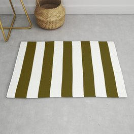 Dark bronze (Coin) green - solid color - white vertical lines pattern Rug