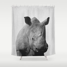 Rhino - Black & White Shower Curtain