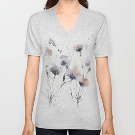 Florals in dust purple and blush pink Unisex V-Neck