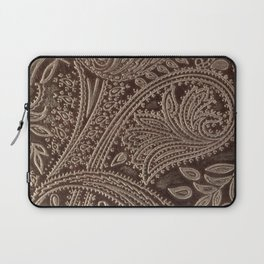 Cocoa Brown Tooled Leather Laptop Sleeve