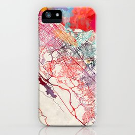 San Mateo map California painting iPhone Case