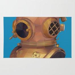 Retro Diver Helmet Polygon Art Rug