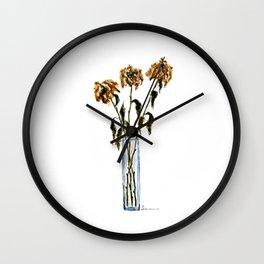 Three dried peonies Wall Clock