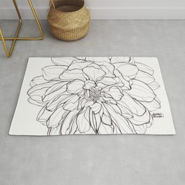 Ink Illustration of a Dahlia Rug
