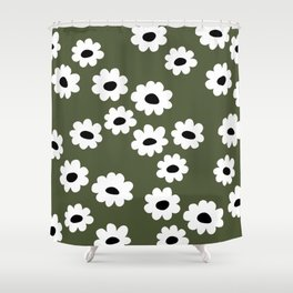 Little retro wild flower daffodil daisy white forest green Shower Curtain