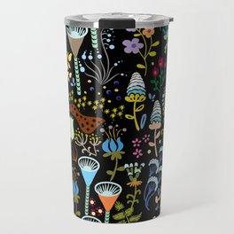 Seamless pattern with bright multicolored decorative flowers on a black background Travel Mug