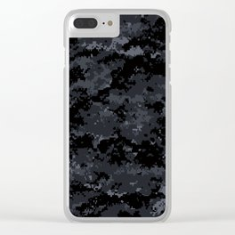 Pixelated Dark Grey Camouflage Clear iPhone Case