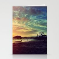 santa monica Stationery Cards featuring Santa Monica Sunset by Michali's Studio
