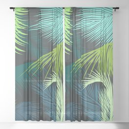 Palm Leaf, Tropical Leaves Sheer Curtain