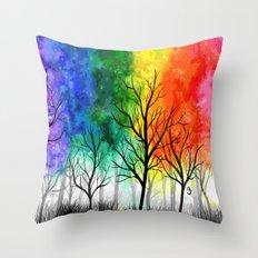 Rainbow Trees Throw Pillow