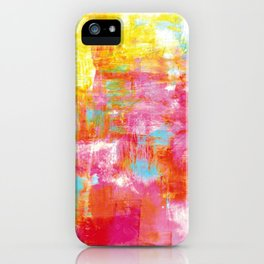 OFF THE GRID 2 Colorful Pink Pastel Neon Abstract Watercolor Acrylic Textural Art Painting Rainbow iPhone Case