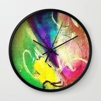graffiti Wall Clocks featuring Graffiti  by Shannon Curtis