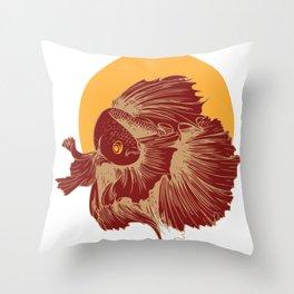 Betta Splendens Retro print I Siamese Fighting Fish Gift Throw Pillow