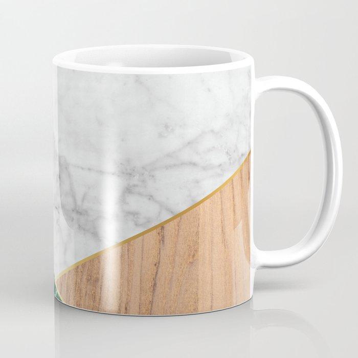 fd569afd9fc White Marble - Green Granite & Wood #138 Coffee Mug by ...