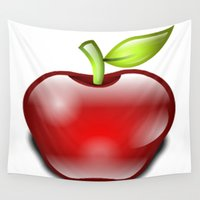 apple Wall Tapestries featuring APPLE by Acus