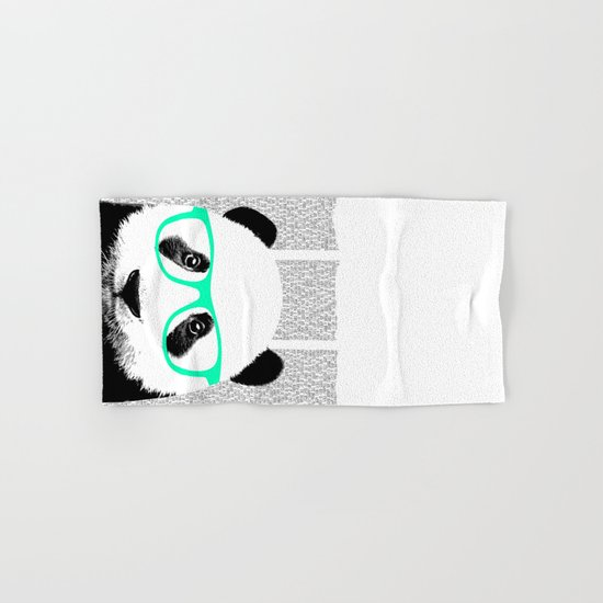 Panda with teal glasses Hand & Bath Towel