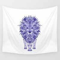 lion Wall Tapestries featuring LIon by Monika Strigel
