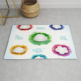 Clouds with watercolor splatters Rug
