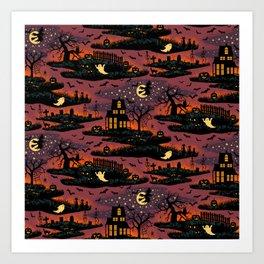 Halloween Night - Bonfire Glow Art Print