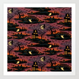 Halloween Night - Bonfire Glow Art Print