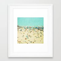 landscape Framed Art Prints featuring Coney Island Beach by Mina Teslaru