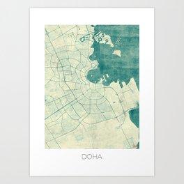 Doha Map Blue Vintage Art Print