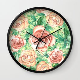 Peach Roses Neck Gator Floral Peach Rose Wall Clock