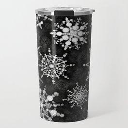 Gray Snowflakes Travel Mug