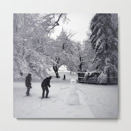 A snowball fight in New York City's Central Park Metal Print