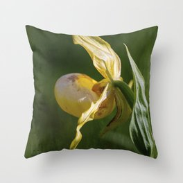 Single Yellow Lady Slipper Throw Pillow