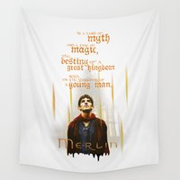 merlin Wall Tapestries featuring Merlin: Myth and Magic by Adam Dens