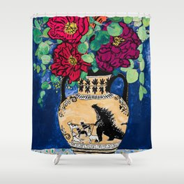 Bright Peony Rose Bouquet in Grecian Urn with Godzilla Walking French Bulldogs Painting Shower Curtain